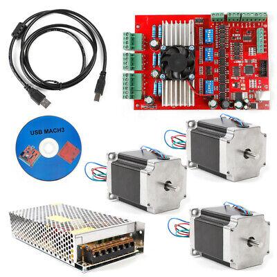 New Mach3 Cnc 3axis Kit Stepper Motor Controller3pc Nema23 Stepper Motor57 Top