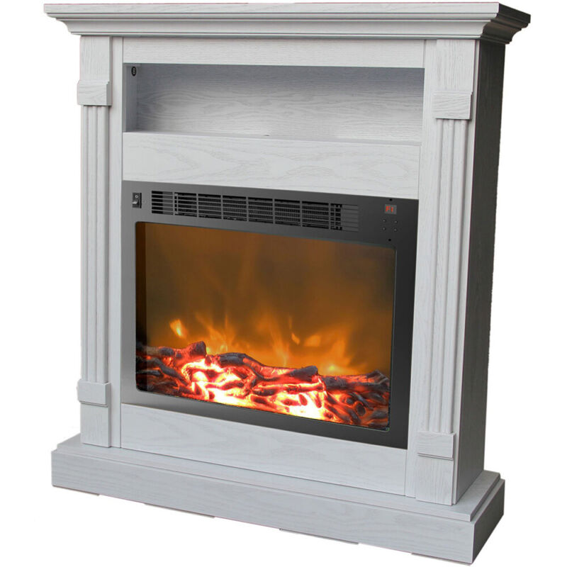Cambridge Sienna Fireplace Mantel with Electronic Fireplace Insert in White - CA
