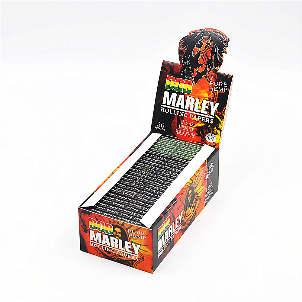 50 Pack/Box BOB MARLEY 78MM Natural Organic Hemp Cigarette Rolling Papers 11/4