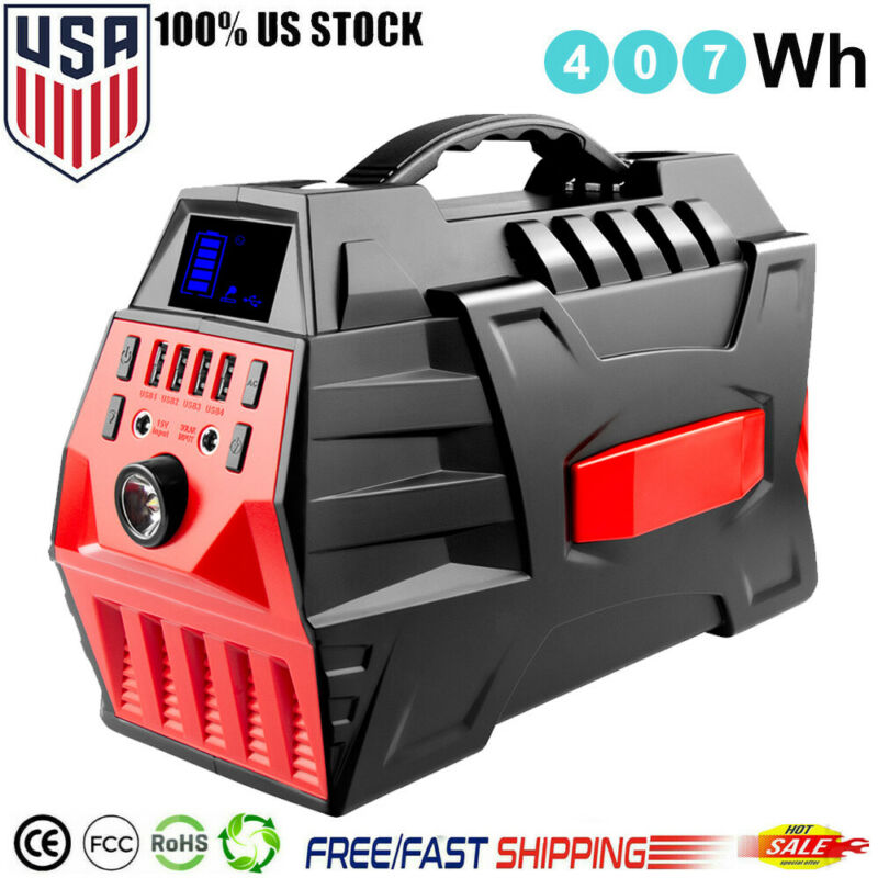 500W Portable Power Station 407Wh For Camping Emergency Uses (Solar/Car/Wall) US