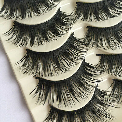 NEW 10 Pairs Natural Long Fake Eye Lashes Handmade Thick False Eyelashes Black