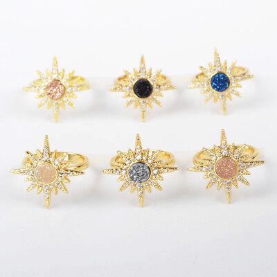 Sun Bezel Ring - 5Pcs 6mm Gold Plated Bezel Sun Starburst Titanium Rainbow Druzy Ring DIY TZG249