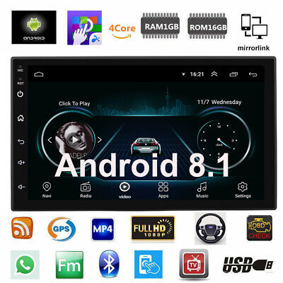 """Android 8.1 Car Stereo GPS Navigation Radio Player Double Din WIFI 7"""" Inch Touch"""