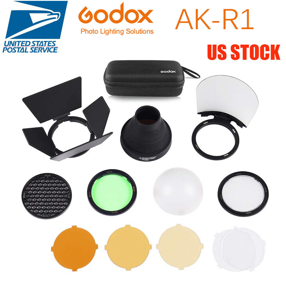 US Godox AKR1Kit Snoot DiffuserFilters for Godox H200R AD200 Round Flash Head