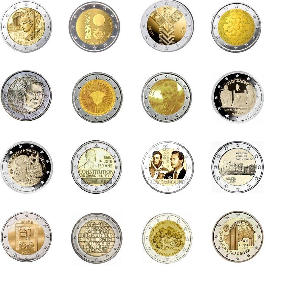 2 euros commemorative 2018 neuve unc plusieurs pays dispo à choisir