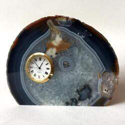 AGATE TABLE CLOCK. Round gold plated quartz watch with Japan movement... Lot 64B