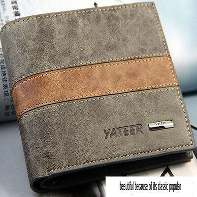 Fashion Bifold Men's Leather Wallet Credit ID Card  Multi Pockets Clutch Purse