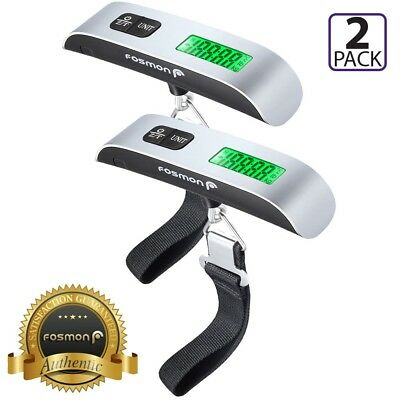 Fosmon 2X Portable Travel Tare 110lb 50kg Digital Suitcase Hanging Luggage Scale