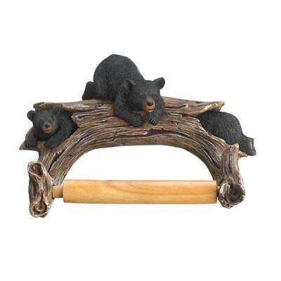 Northwoods Country Rustic Lodge BLACK BEAR TOILET PAPER HOLDER Bathroom -