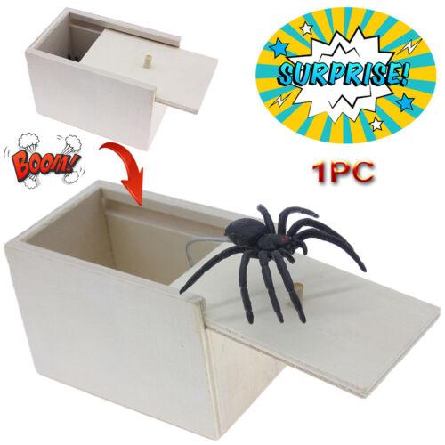 1PC Wooden Prank Spider Horror Scare Box Hidden in Case Tric