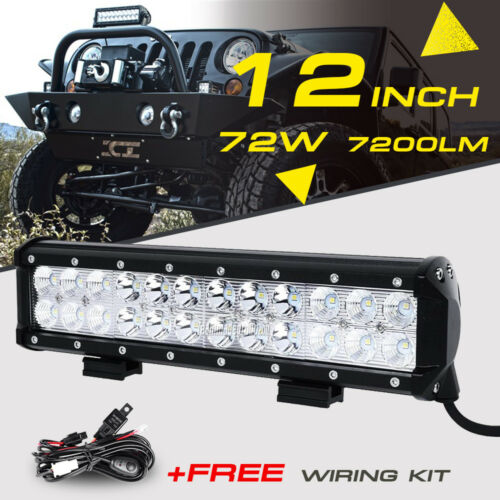 Led - 12inch 72W LED Light Bar Work SPOT FLOOD Combo Beam CREE 4WD CAR ATV+ Wiring Kit