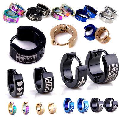 Wholesale 10 Pairs Mix Style Punk Stainless Steel Earrings Hoop Huggie Ear Studs - Punk Wholesale