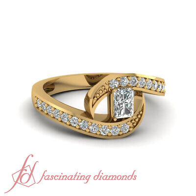 1 Ct Pave Set Radiant Cut Womens Diamond Rings In 14K Yellow Gold GIA Certified