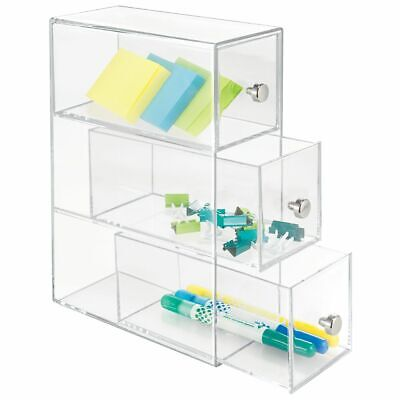 Mdesign Plastic Home Office Desk Storage Organizer Flips 3 Drawers - Clear