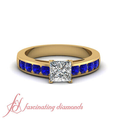 1 Ct Yellow Gold And Channel Set Round Blue Sapphire Princess Diamond Rings GIA