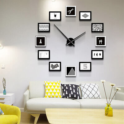 Modern Wall Clock & 12 Multi Photo Family Picture Collage Frame Home Decor USA