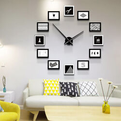 MASHRM Family Wall Clock Plastic Wall-Mounted Clock + Photo Frame Black & White