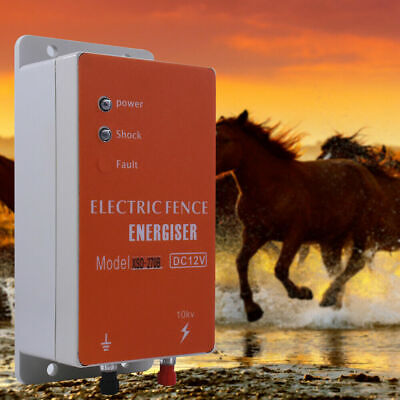 10km Electric Fence Energizer Charger For Ranch Animals Raccoon Dog Horse Cattle