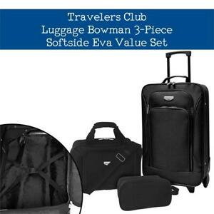 6c9ec902be NEW Travelers Club Luggage Bowman 3-Piece Softside Eva Value Set, Black  Condtion: