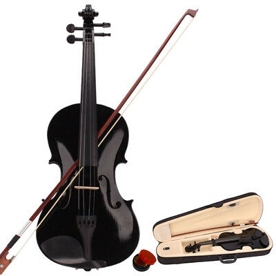 4/4 Full Size Beginners Acoustic Violin Set With Case Bow Rosin Bridge Best