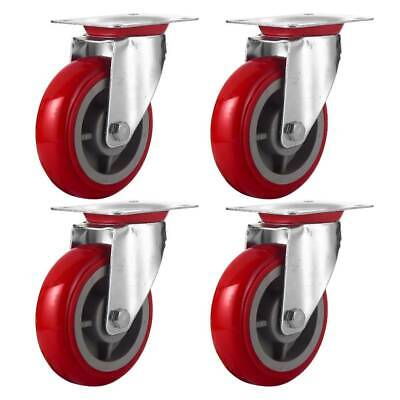 4 Pack 6 Caster Wheels Swivel Plate Casters Red Polyurethane Wheels No Brake