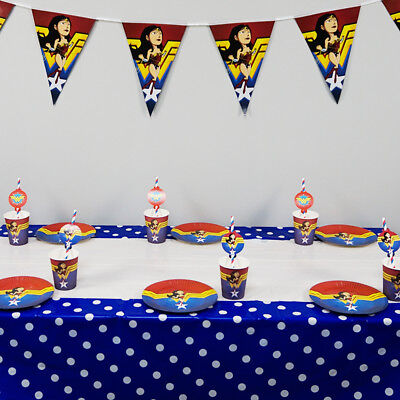 38pcs Wonder Woman Theme for 12 Kids Tableware Set Birthday Party Supplies