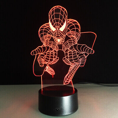 3D Illusion Night Light Spiderman 2 Handed Shooting Web  7 Color Touch Change