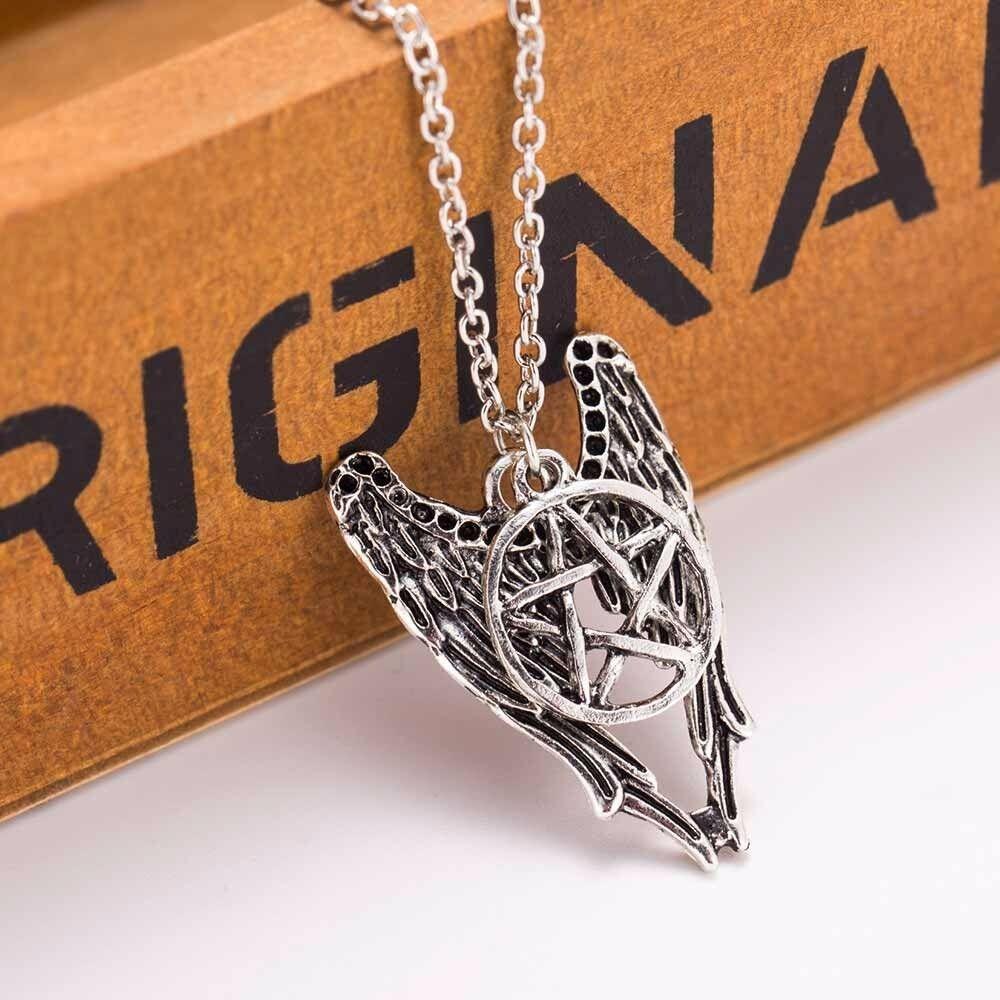 "Halskette Kette ""Supernatural"" Pentagramm Engel Winchester Amulett Schmuck Kette"