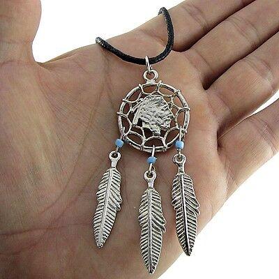 Indian Chief Head Charm Dream Catcher Beads Pendant