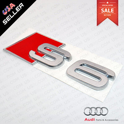 Car 3D Auto ABS Emblem Audi S6 Silver Logo Sticker Rear Tail Badge Trunk