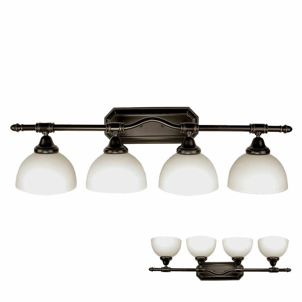 4-Bulb Bathroom Vanity Light Fixture with Opal Glass Globes, Oil Rubbed Bronze Home & Garden