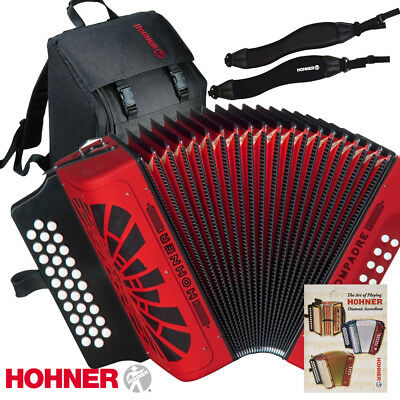 Hohner Compadre FBE FA Red Accordion + Gig Bag, Strap, Back Pad, Book, Harmonica
