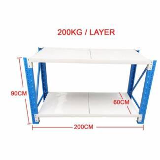2x0.9M Steel Garage Warehouse RackShelves Work Bench Shelf