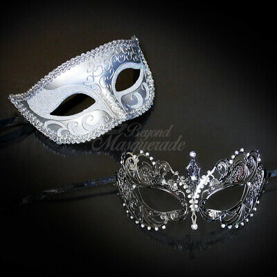 His and Hers Couple Masquerade Mask Fancy Metal Silver Theme Rhinestones - Couple Themes