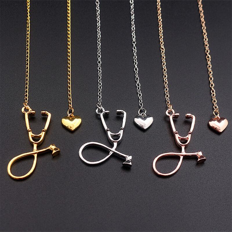 1 Pcs 3 Colors Doctor Pendant Nurse Stethoscope Necklace Jewelry Heart