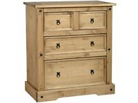 BRAND NEW IN BOX CORONA MEXICAN PINE 2+2 DRAWER CHEST OF DRAWERS