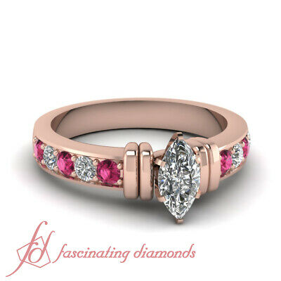 1.50 Carat Rose Gold Marquise Cut Diamond Rings With Pink Sapphire Gemstone GIA