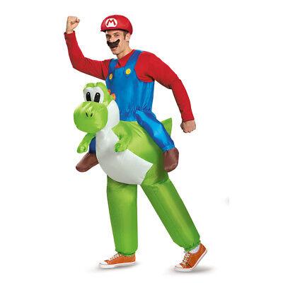 Adult Mario Riding Yoshi Inflatable Costume Size Standard](Adult Yoshi Costume)