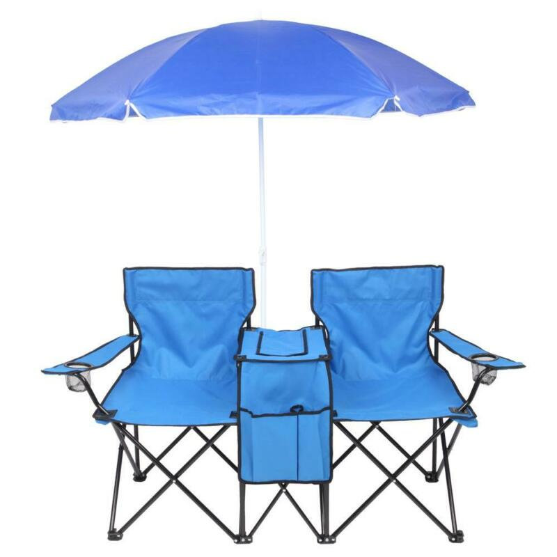 Chair Set Double Folding Umbrella Table with Cooler Picnic Camping Beach Seat