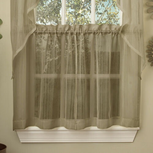 Harmony Mocha Micro Stripe Semi Sheer Kitchen Curtains 36″Tier Pair Curtains & Drapes