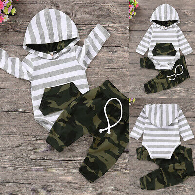 Newborn Baby Boy Striped Hooded Romper Tops Camo Pants Outfits Tracksuit Clothes