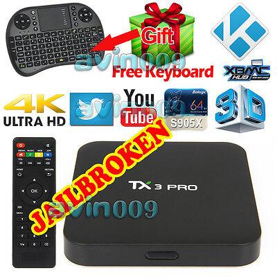 4K TX3 PRO S905X Quad Core KODI 16.1 XBMC Android 6.0 TV Box Free keyboard HDMI