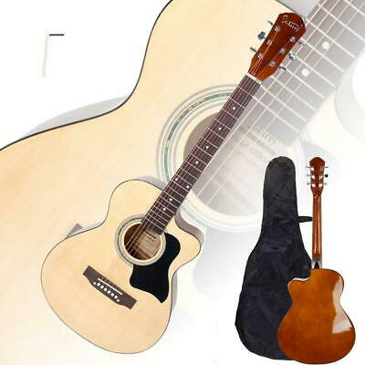 "New Glarry 38"" Student Spruce Front Cutaway Folk Acoustic Guitar Burlywood"
