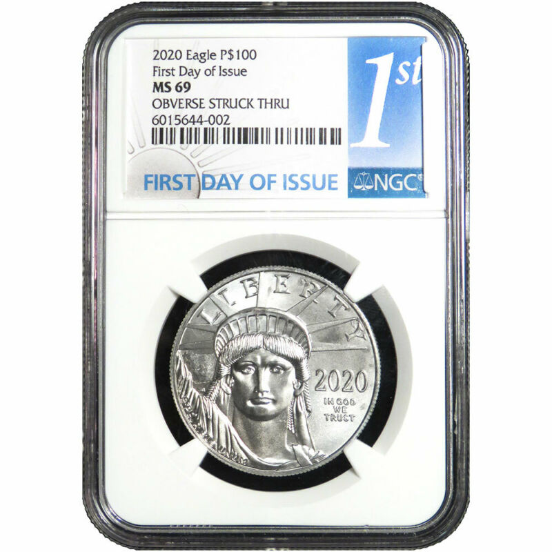 2020 $100 American Platinum Eagle 1 oz. NGC MS69 Mint Error Obv. Struck Thru FDI