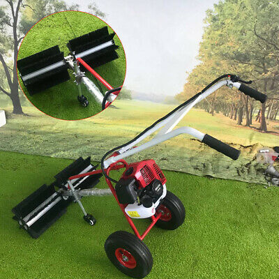GAS POWER HAND HELD SWEEPER BROOM CLEANING DRIVEWAY TURF GRASS WALK BEHIND -