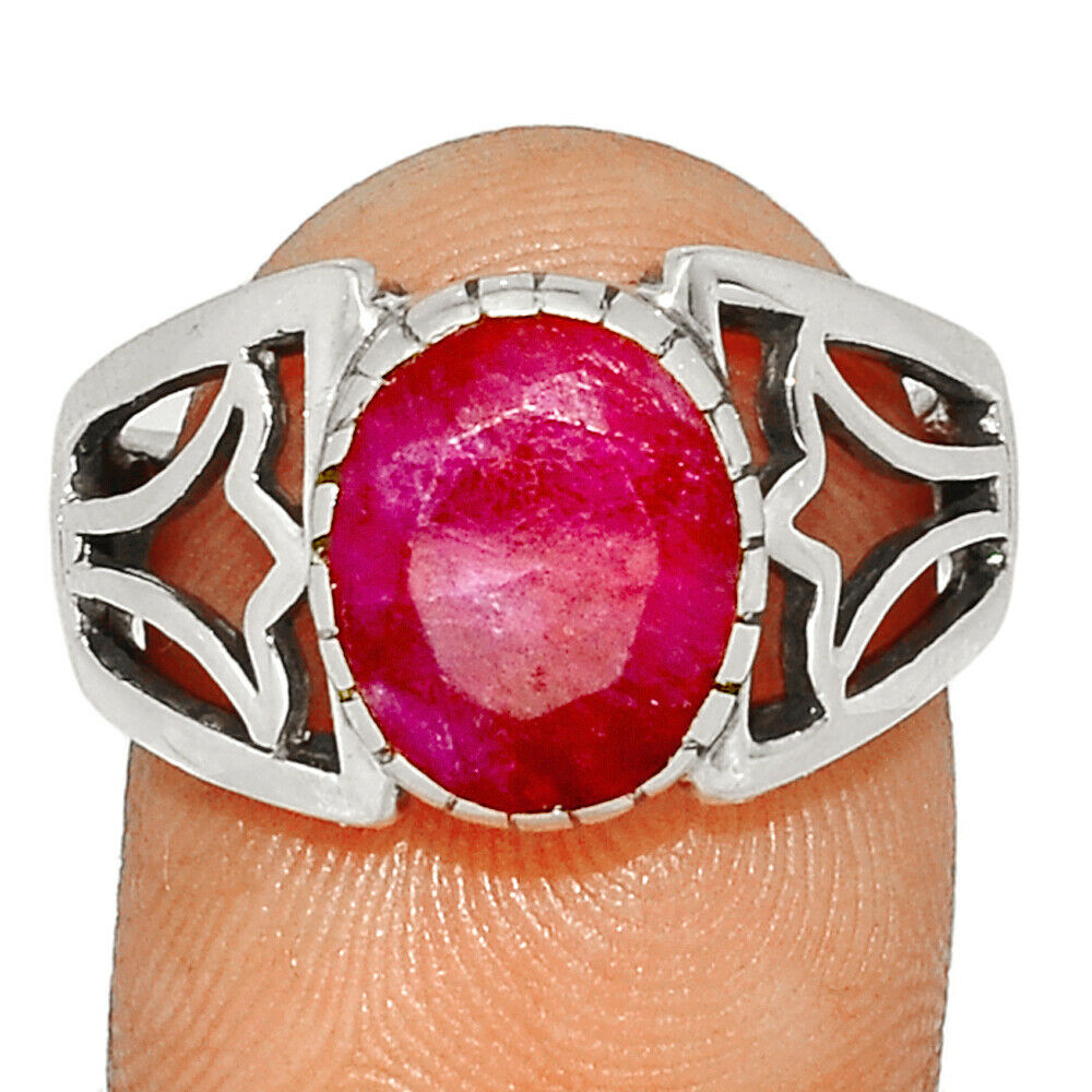 Ruby - India 925 Sterling Silver Ring Jewelry S.8.5 BR41775 206I - $15.99
