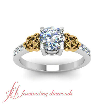 1.10 Ct Round Cut SI1-H Color Diamond Engagement Ring Pave Set 14K GIA Certified 1