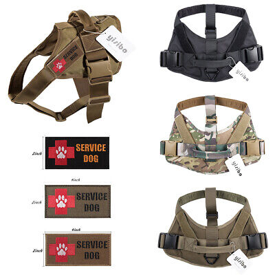 Tactical Military Harness Service Dog Police Patrol Vest w/Handle Dog Patches ()