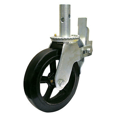 8 Rubber Scaffold Caster Wheels W Locking Brakes 1-38 Stem 500 Lbs. Capacity