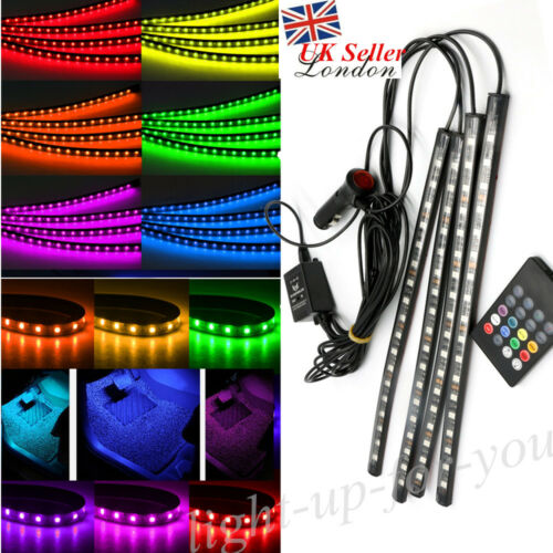 Car Parts - Car Interior Footwell LED Strip Lights RGB Multicolour Remote Atmosphere Decor